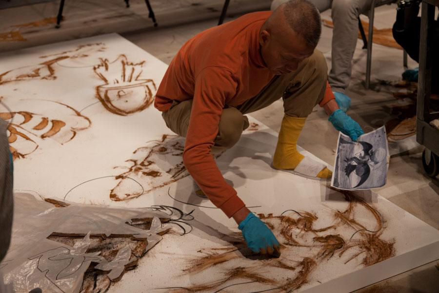 Cai-Guo-Qiang-sketching-detail-for-gunpowder-drawing-Desire-for-Zero-Gravity-Los-Angeles-2012