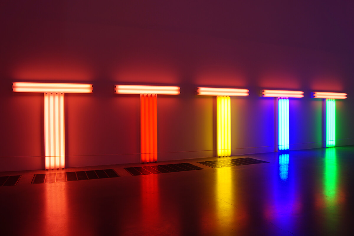 Dan Flavin, untitled (to Barry, Mike, Chuck and Leonard) (1972), via Art Observed